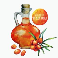Watercolor sea buckthorn oil jar and berries