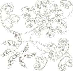 Zentangle stylized flowers black and white hand drawn vector illustration