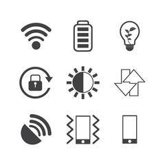 Mobile phone icons set on white background