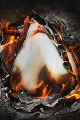 burning old paper, vintage paper, the burning heart from paper