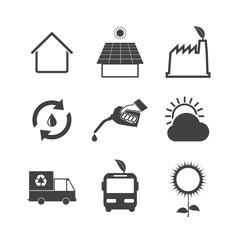 Black and White Eco icons set