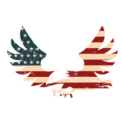 American Eagle with USA flag background. Illustration of abstrac