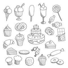Set of hand drawn sketched linear sweets: muffins, cakes, ice cream, candies, donuts