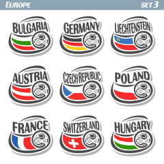 Vector logo for European football, soccer Bulgaria, Germany, Liechtenstein, Austria, Czech Republic, Poland, France, Switzerland, Hungary, set 9 isolated: state flags, soccer balls. Championship Euro