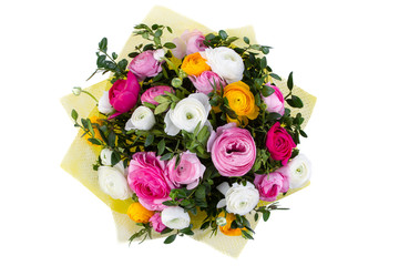 bouquet of beautiful colorful flowers on isolated background, top view
