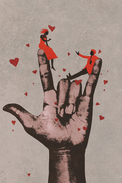 big hand in I LOVE YOU sign with romantic couple in love,illustration painting