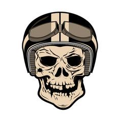 Skull in motorcycle helmet. Design element for logo, label, badg