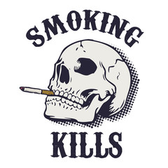 Smoking kills. Human skull with cigarette isolated on white back