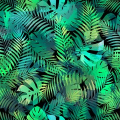Seamless tropical pattern with palm leaves.