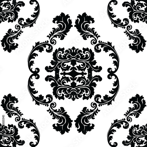 """Vector floral damask pattern background. Luxury classic ..."