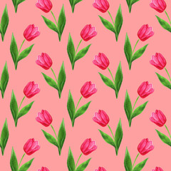 watercolor seamless tulips pattern pink background
