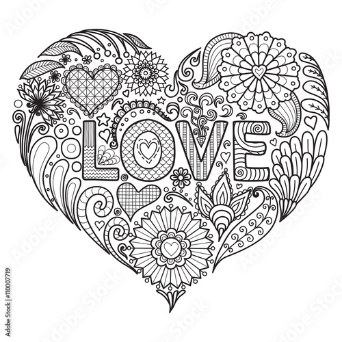 Flowers in heart shape for coloring books for adult or ...
