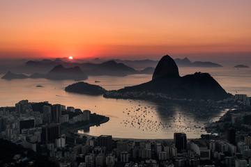 Sunrise over Guanabara Bay in Rio de Janeiro