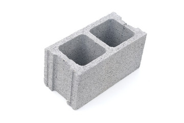 Gray concrete construction block isolated on white