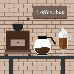 A coffee mill, a glass and a jar on a table, with coffee shop inscription, in outlines, over a brown background with bricks, digital vector image