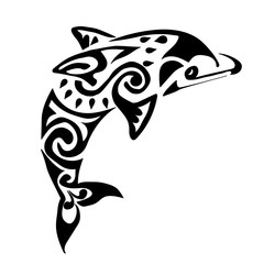black dolphin tattoo Polynesia Maori vector