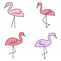 pink flamingo tropical set four icon vector