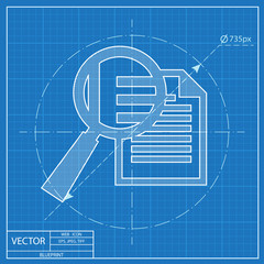 blueprint icon of lupe document