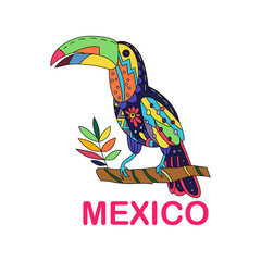 Isolated vector image of Mexican bird. Toucan sitting on a branch. Vector.