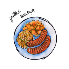 grilled sausages German cuisine. isolated. watercolor