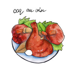 coq an vin French cuisine. isolated. Watercolor