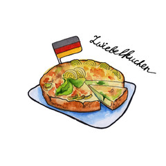zwiebelkuchen sausages German cuisine. isolated. watercolor
