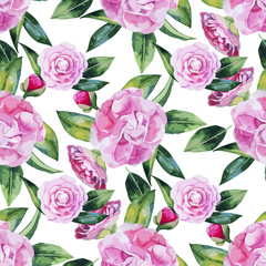 Watercolor camellia seamless pattern