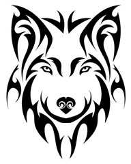Wolf's Head in the form of a stylized tattoo
