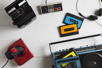 80s passions / overhead of a series of electronic equipment in vogue in the 80s