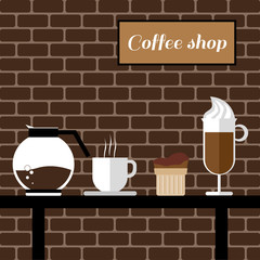 A coffee mill, a glass, a cake and a jar on a table, with coffee shop inscription, in outlines, over a brown background with bricks, digital vector image