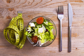 salad and tape measure