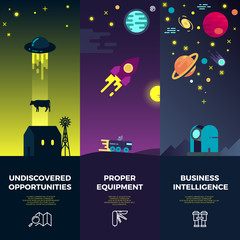 Space vector banners with flat astronomic and ufo icons and planets. Ufo science, ufo rocket, spacecraft ufo illustration