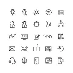 Support service, telemarketing, contact us vector line icons. Support contact, support icon, support help illustration