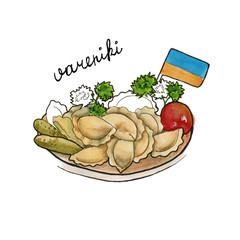 vareniki Ukrainian cuisine. isolated. watercolor