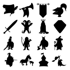 Medieval silhouettes icons set