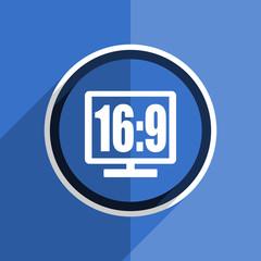 blue flat design 16 9 display modern web icon