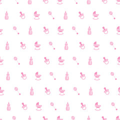 Baby seamless toys pattern. Design for fabric, web background, wallpaper, cards, prints of baby's goods. All elements are hidden under the mask.Vector illustration.