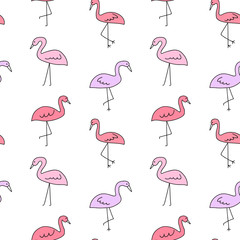 seamless pattern vector pink flamingo