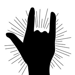 rock and roll hand metal black vector