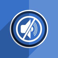 blue flat design mute modern web icon