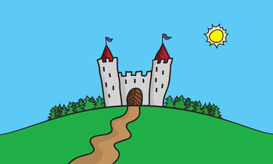 Vector draw illustration of scene with castle on hill in the forrest. Summer trip destination.