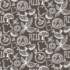 Seamless pattern hand drawn delicious pizza with tomatoes, mozza