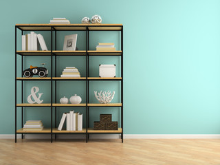 Part of interior with shelves 3D rendering