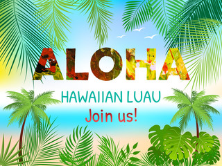 Aloha Hawaiian Party Template Invitation