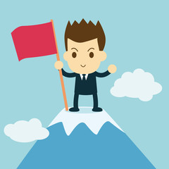 businessman planting a flag on the mountain