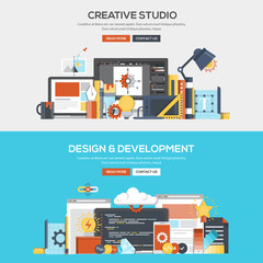 Flat design concept banner- Creative Studio and Development