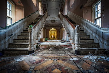 Main entrance with symmetrical stairs of an abandoned psychiatric hospital (demolished in 2015) Wall mural