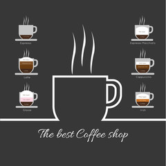 A white cup of coffee with steam, with best coffee shop inscription and espresso, latte, glasse, espresso macchiato and cappuccino, in outlines, over a silver background, digital vector image