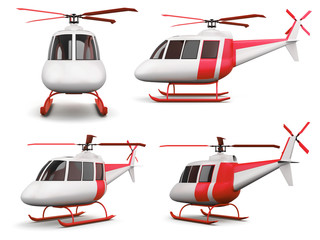 Set of different view toy helicopter isolated on white background. 3d rendering.