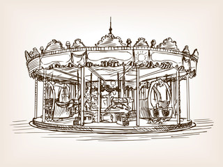 Children carousel sketch style vector illustration